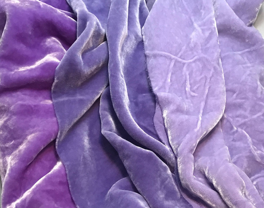 "Pastel Purple Sample Set - Hand Dyed Silk Velvet - 1/4 Yard x 45"" Each"