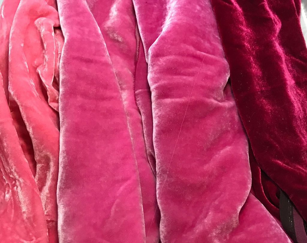 "Bright Pink Sample Set - Hand Dyed Silk Velvet - 1/4 Yard x 45"" Each"