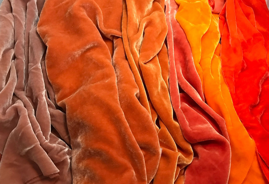 "Big Orange Sample Set - Hand Dyed Silk Velvet - 9""x22"" Each"
