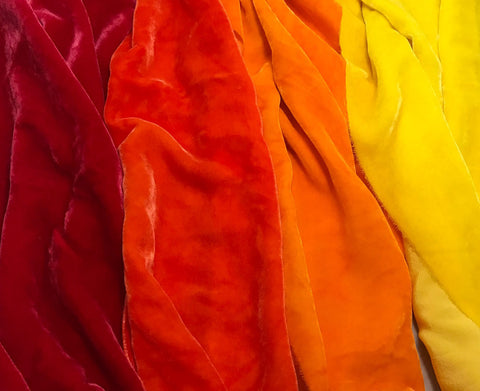 "Bright Autumn Sample Set - Hand Dyed Silk Velvet - 9""x22"" Each"