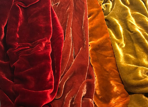 "Dark Autumn Sample Set - Hand Dyed Silk Velvet - 9""x22"" Each"
