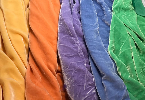 "Pastels Sample Set - Hand Dyed Silk Velvet - 1/4 Yard x 45"" Each"