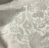 Floral Jacquard Natural White Raw Silk Noil Fabric