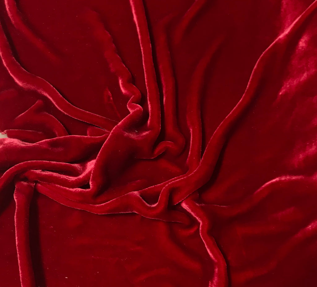 Cherry Red - Hand Dyed Very Plush Silk Velvet
