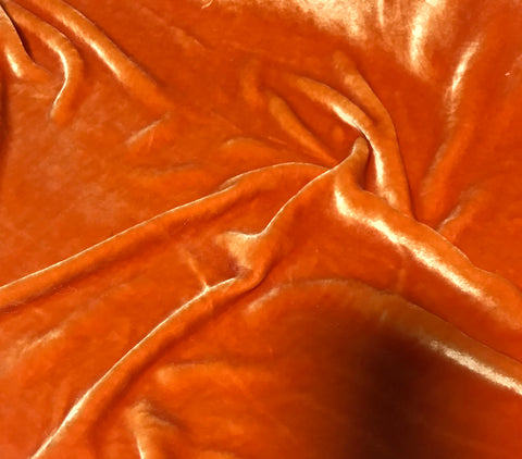 Blood Orange - Hand Dyed Very Plush Silk Velvet