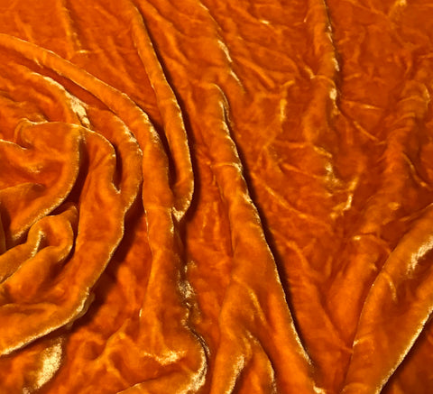 Pumpkin Orange - Hand Dyed Very Plush Silk Velvet