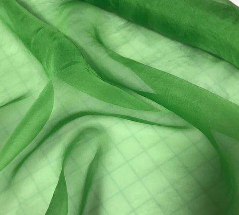 Apple Green - Hand Dyed Silk Organza