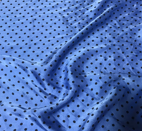 Periwinkle Blue & Black Polka Dots - Hand Dyed Silk Charmeuse Fabric