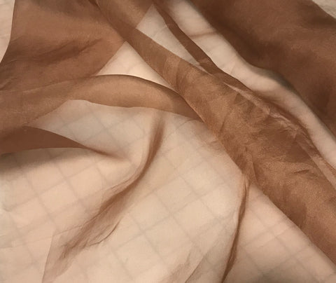 Terra Cotta Brown - Hand Dyed Silk Organza