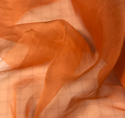 Persimmon Orange - Hand Dyed Silk Organza