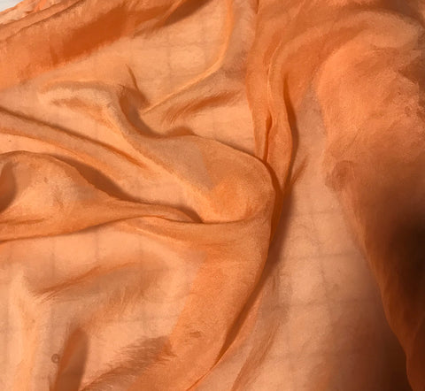 Persimmon Orange - Hand Dyed Soft Silk Organza