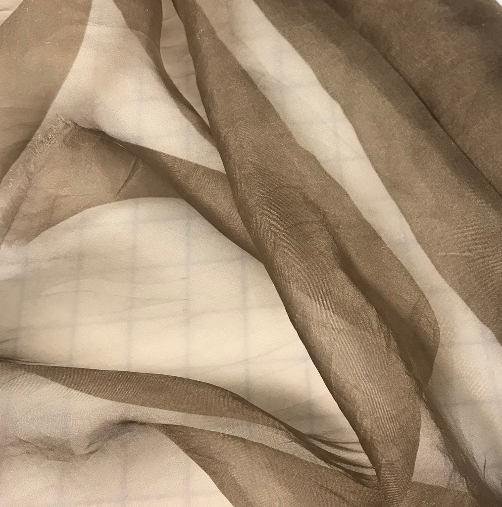 Taupe Brown - Hand Dyed Silk Organza