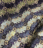 Purple & Gold Floral Waves - Schiffli Lace Fabric
