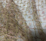 Mauve & Gold Diamond Floral - Schiffli Lace Fabric