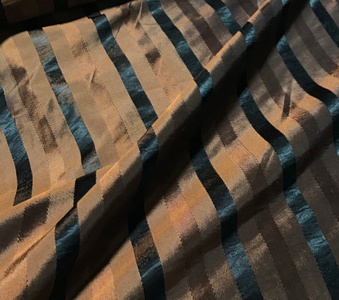 Copper & Black Stripe - Faux Silk Taffeta Fabric