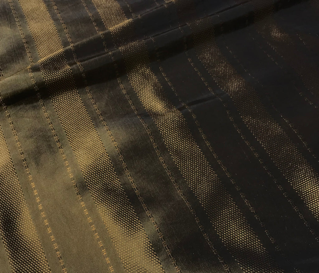 Bronze Stripe - Faux Silk Taffeta Fabric