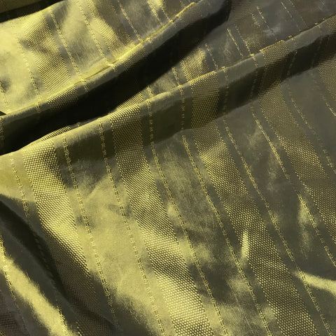 Olive Green Stripe - Faux Silk Taffeta Fabric