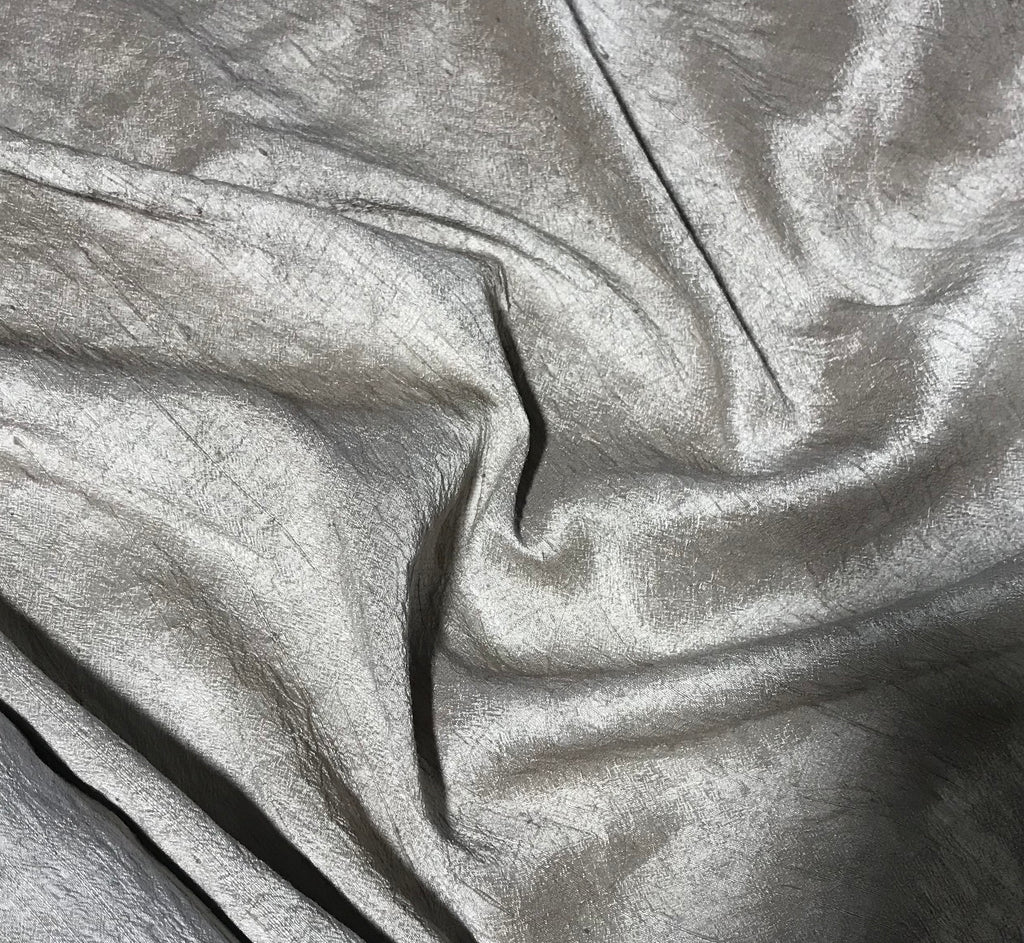 Taupe Brown - Hand Dyed Silk Dupioni