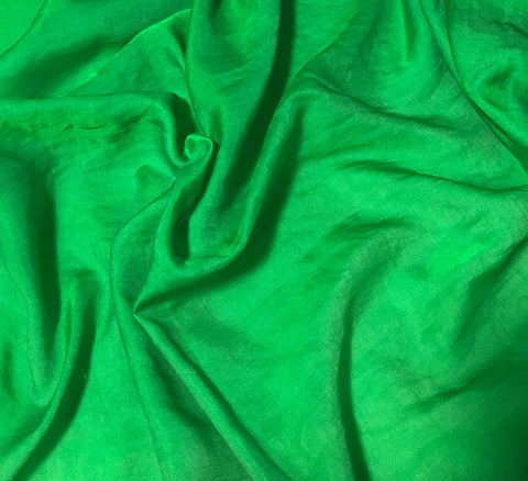 Bright Kelly Green - Hand Dyed Silk/Cotton Sateen