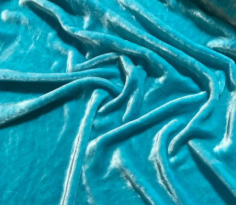 Aqua - Hand Dyed Very Plush Silk Velvet