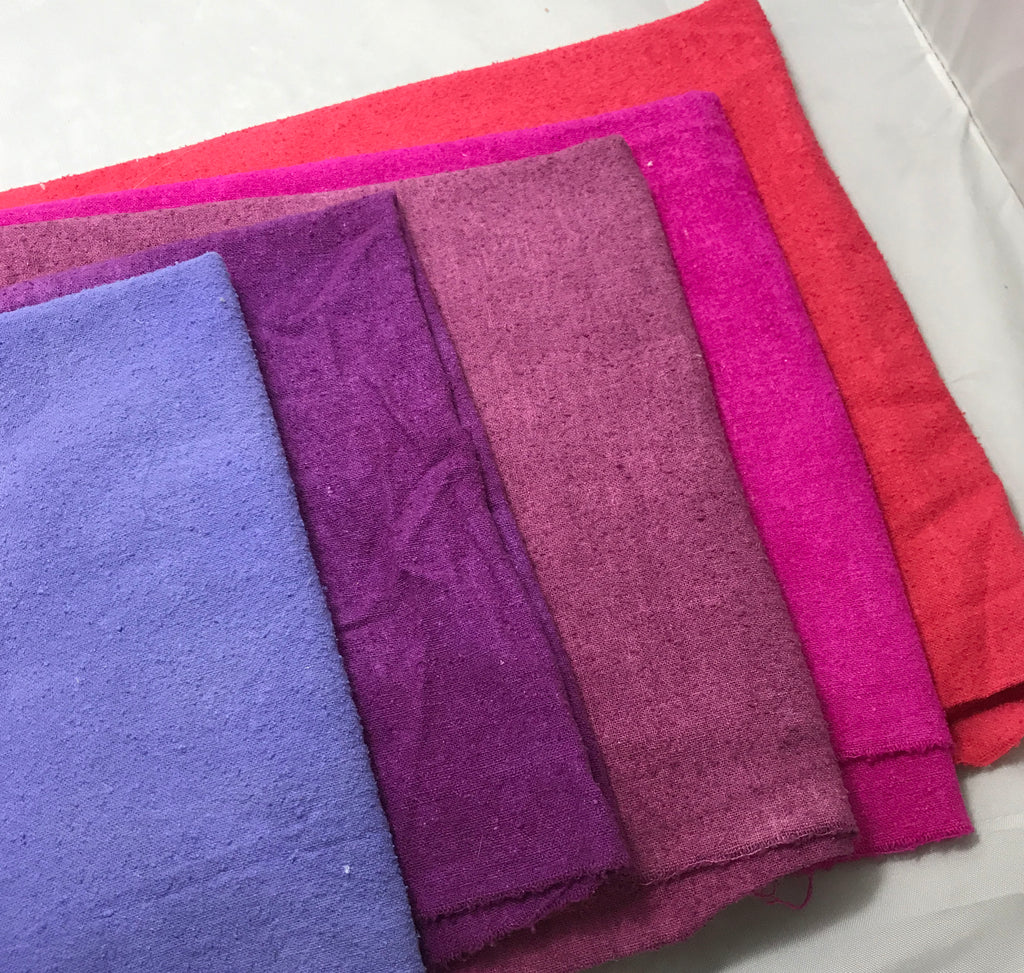 "Purple & Pink Sample Set - Hand Dyed Silk Noil - 1/4 Yard x 45"" Each"