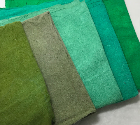 "Greens Sample Set - Hand Dyed Silk Noil - 1/4 Yard x 45"" Each"