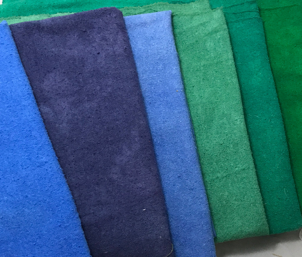 "Blue & Green Sample Set - Hand Dyed Silk Noil - 9""x22"" Each"