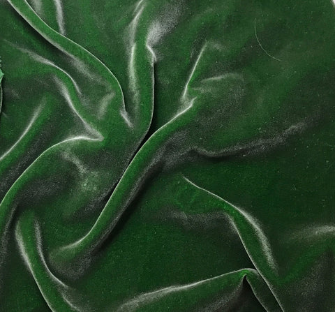 "Hand Painted Silk Velvet Fabric - Silver on Kelly Green (18""x22"")"