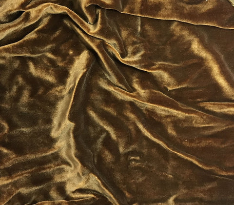 Antique Gold on Amber - Hand Painted Silk Velvet Fabric