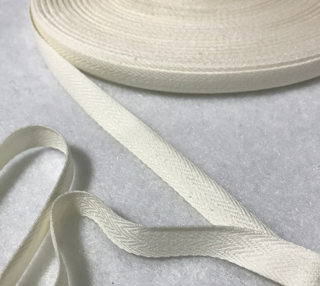 "Cotton Twill Tape 7/16"" / 11mm width - Made in France (9 Colors to choose from)"