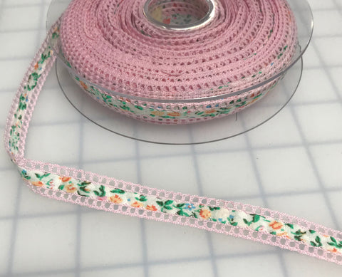 "Pink Floral Ribbon with Lace Edge Made in France (1/2"" wide)"