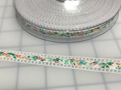 "White Floral Ribbon with Lace Edge Made in France (1/2"" wide)"