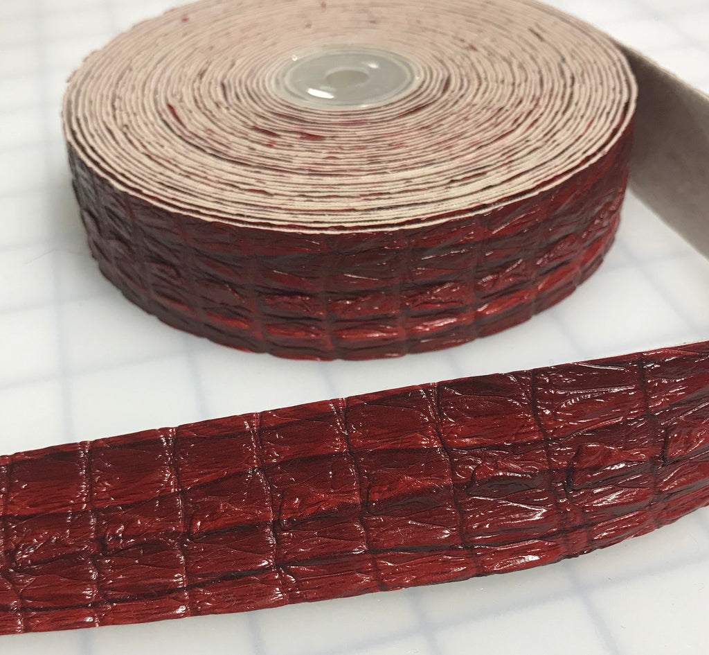 "Red Faux Reptile Gator Leather Trim - Made in France (1 1/8"" wide)"