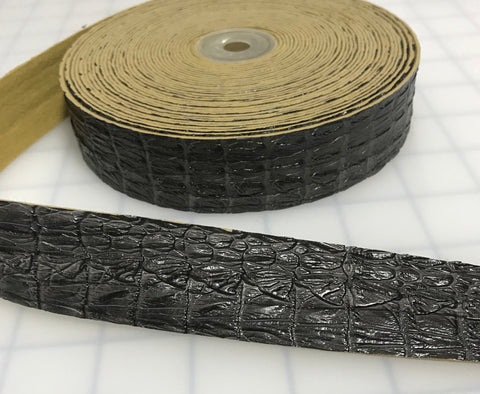 "Brown Faux Reptile Gator Leather Trim - Made in France (1 1/8"" wide)"