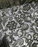 Black & Gold Paisley Floral Schiffli Lace Fabric