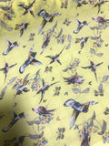 Yellow with Hummingbirds - Polyester Chiffon Fabric