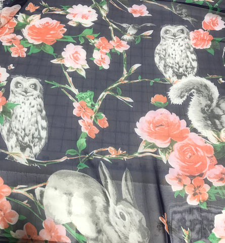 Navy Blue with Forest Animals - Polyester Chiffon Fabric