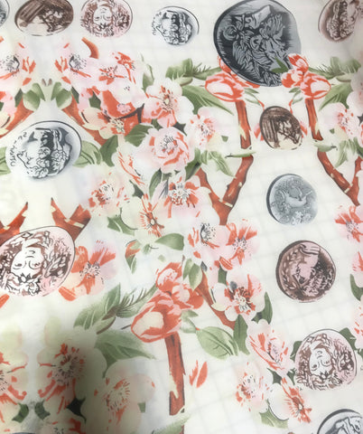 Floral & Coins on White - Polyester Chiffon Fabric