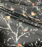 Birds on Black - Polyester Chiffon Fabric
