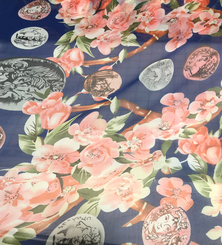 Blue Floral & Coins - Polyester Chiffon Fabric