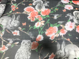 Black with Forest Animals - Polyester Chiffon Fabric