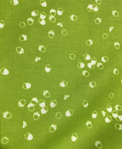 Acorns Bright Green - Lucky Charms Basics - Figo Cotton Fabrics