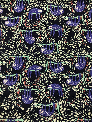 Swaying Sloths Serene - Selva - Art Gallery Premium Cotton Fabric