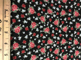 Bella Rosa - Floral Red Rose Bunches Black - Stof Cotton Fabrics
