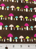 Pink & Green Mushrooms Brown - Minimized Style - Stof Cotton Fabrics