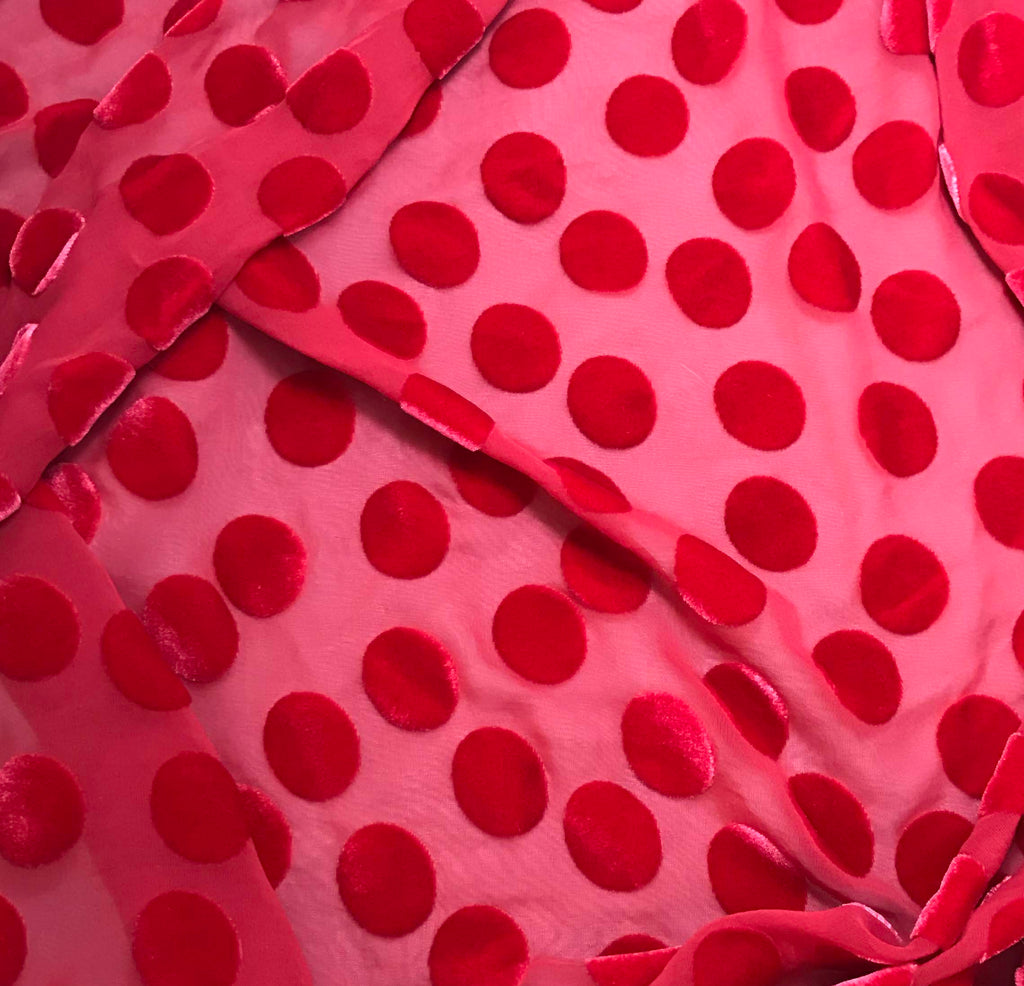 Cherry Red Polka Dots - Hand Dyed Burnout Silk Velvet