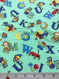ABC Green Alphabet - EESCO Flannel Cotton Fabric