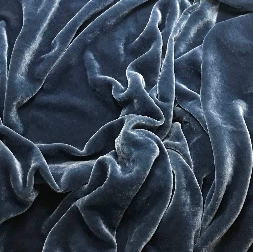 Blue Gray - Hand Dyed Silk Velvet