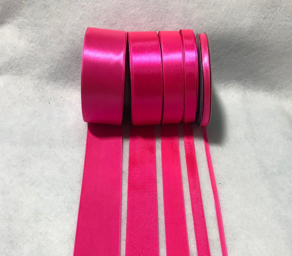 Neon Pink Double Sided Satin Ribbon - Made in France (7 Widths to choose from)