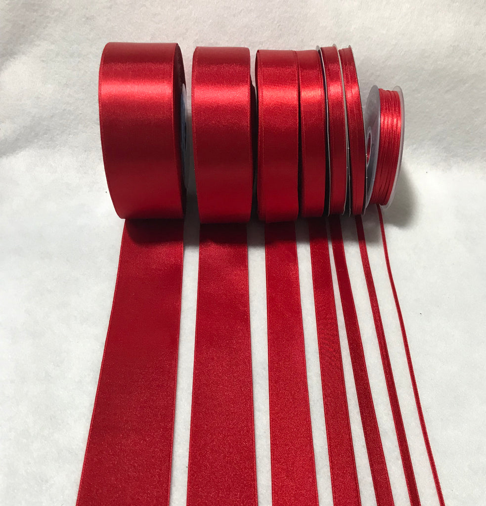 Scarlet Red Double Sided Satin Ribbon - Made in France (7 Widths to choose from)